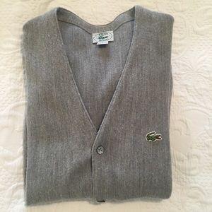 Men's Vintage Izod Gray Orlon Wool Cardigan Size L